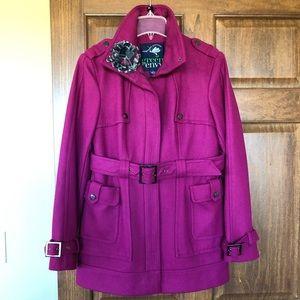 Green Envy like new magenta wool blend coat